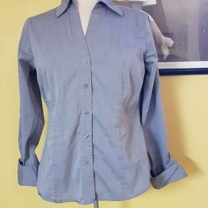 Gray business casual button up blouse shirt